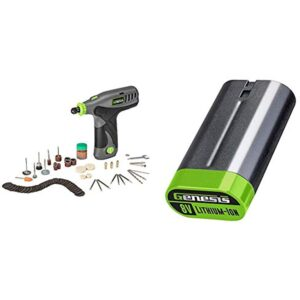 Genesis GLRT08-B 8V Variable Speed Rotary Tool with Two Removeable Lithium-Ion Battery Packs,